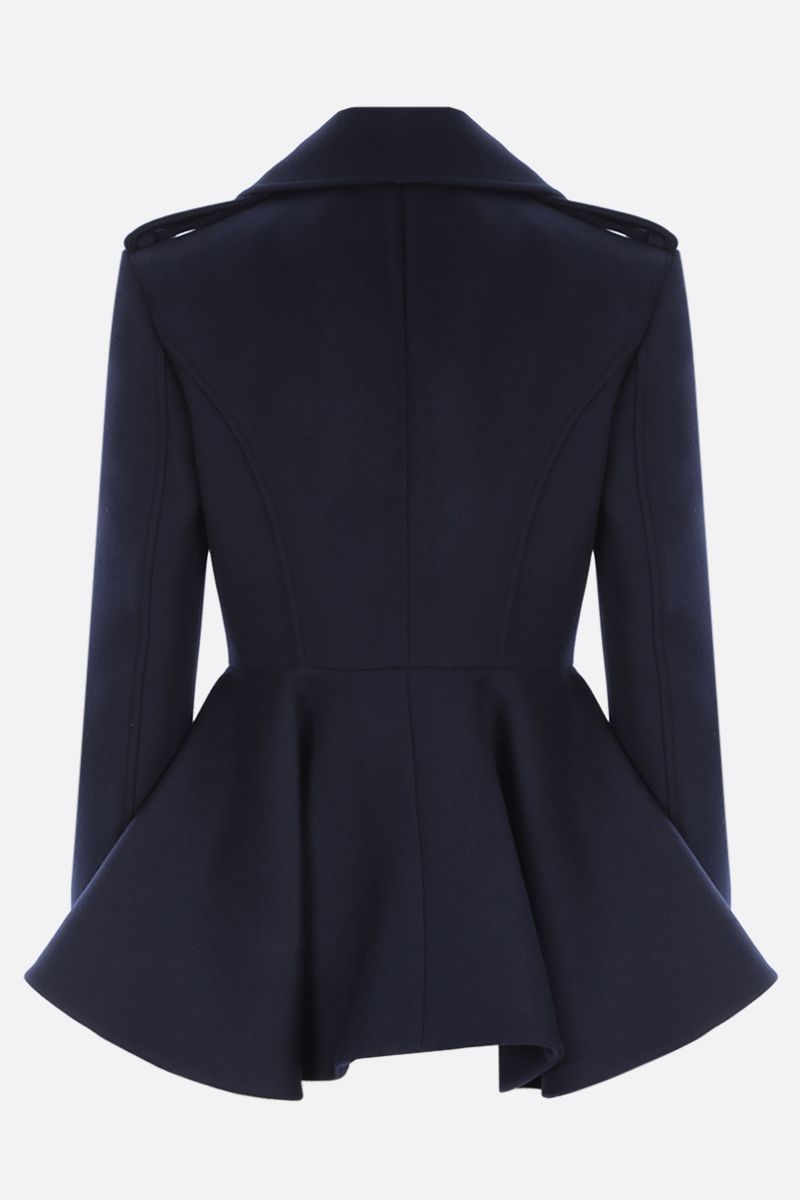 ALEXANDER McQUEEN: double-breasted cashmere wool blend coat Color Blue_2