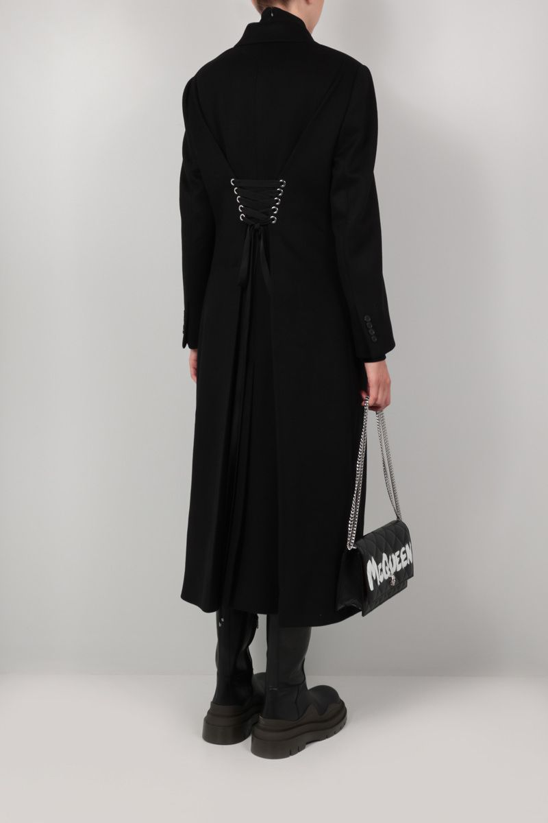 ALEXANDER McQUEEN: lace-detailed double-breasted cashmere wool blend coat Color Black_2