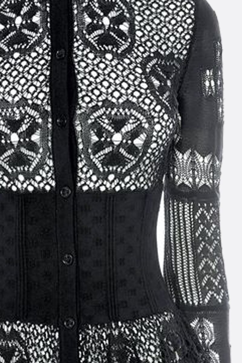 ALEXANDER McQUEEN: patchwork lace peplum cardigan Color Black_3