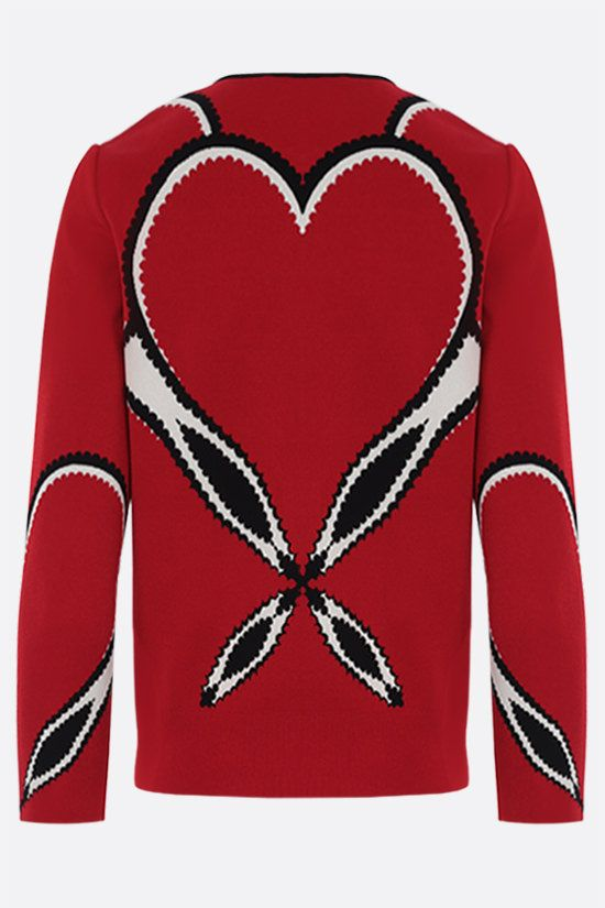 ALEXANDER McQUEEN: jacquard heart-motif stretch knit cardigan Color Red_2