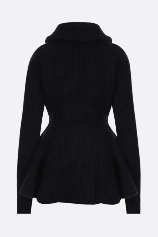 ALEXANDER McQUEEN: peplum hem-detailed wool cardigan Color Black_2