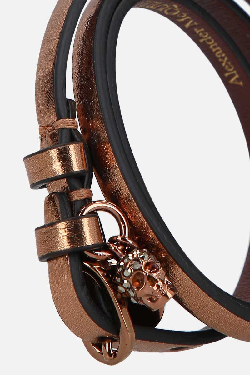 ALEXANDER McQUEEN: Skull laminated leather multi-wrap bracelet Color Gold_2