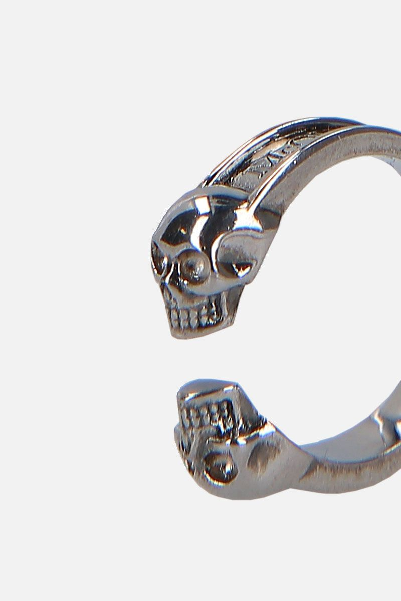 ALEXANDER McQUEEN: Twin Skullbrass ring Color Multicolor_3