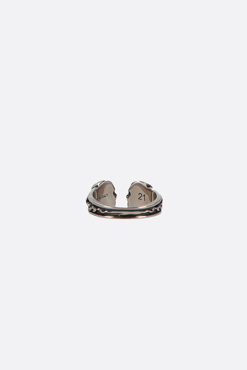 ALEXANDER McQUEEN: Twin Skull brass ring Color Silver_2