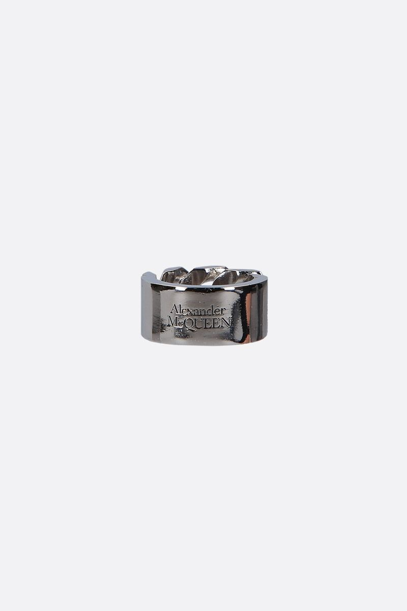 ALEXANDER McQUEEN: Identity chain metal ring Color Multicolor_2