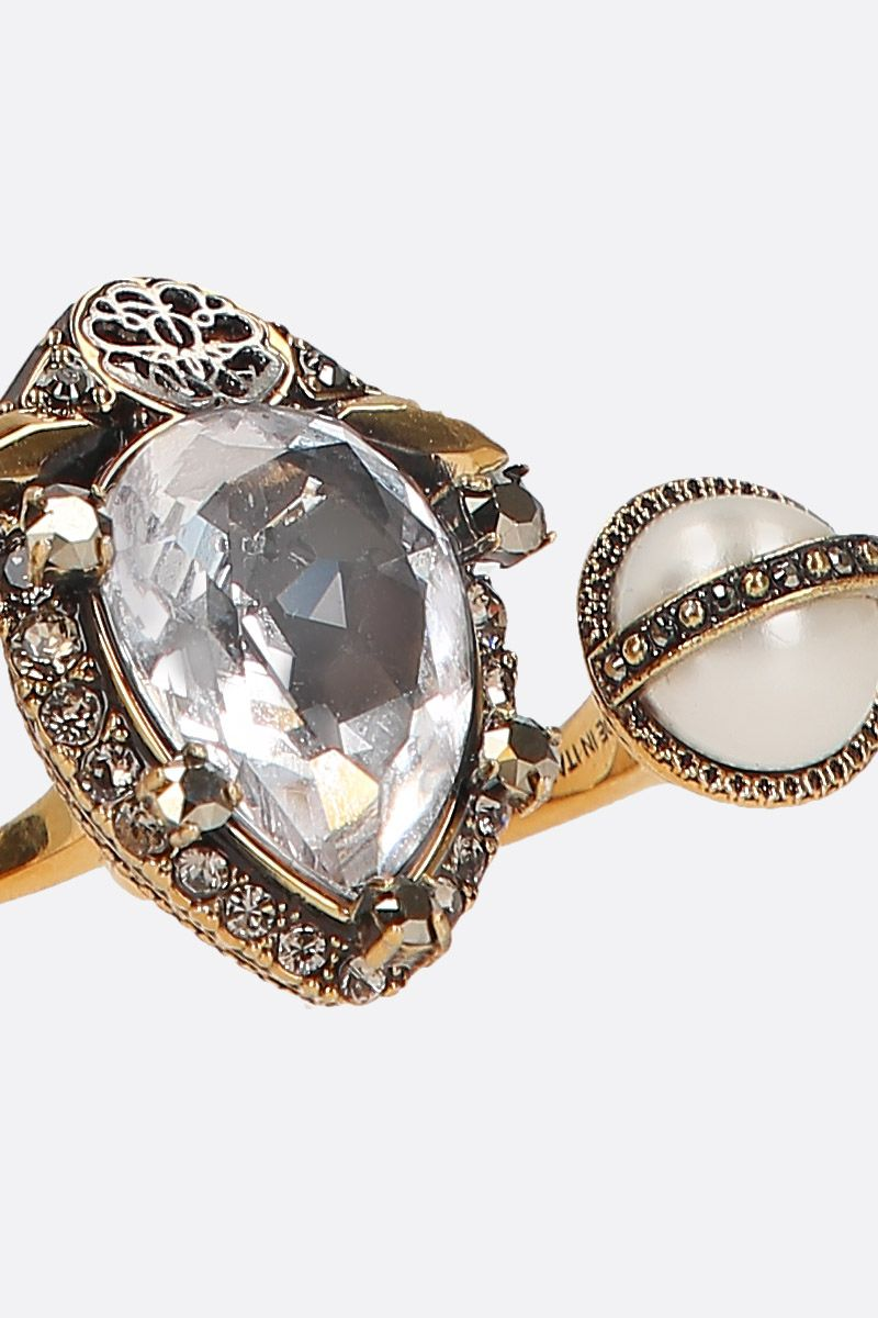 ALEXANDER McQUEEN: brass double-ring with crystals and pearls Color Multicolor_3