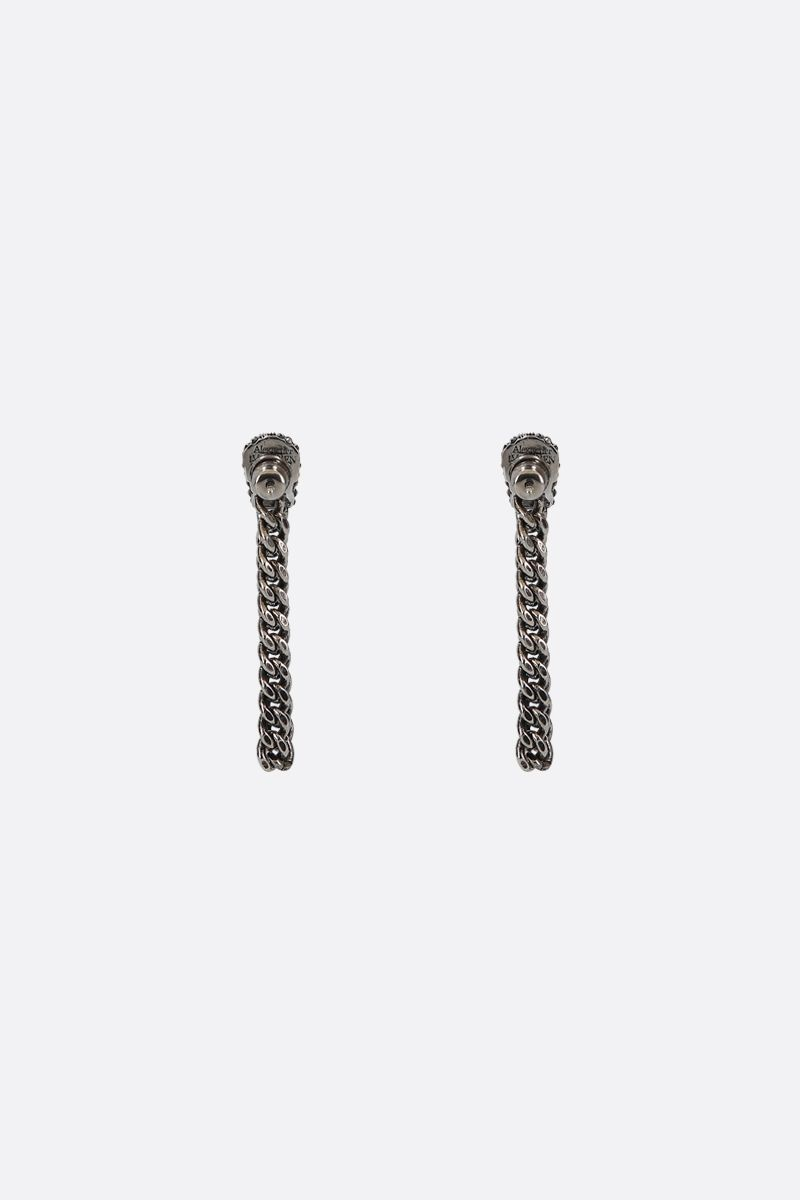 ALEXANDER McQUEEN: Skull-detailed brass chain earrings Color Silver_2