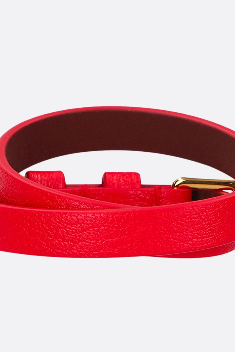 ALEXANDER McQUEEN: Skull smooth leather double-wrap bracelet Color Red_2