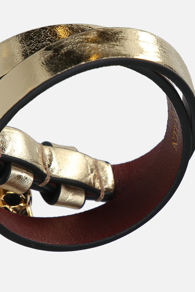 ALEXANDER McQUEEN: Skull laminated leather double-wrap bracelet Color Gold_2