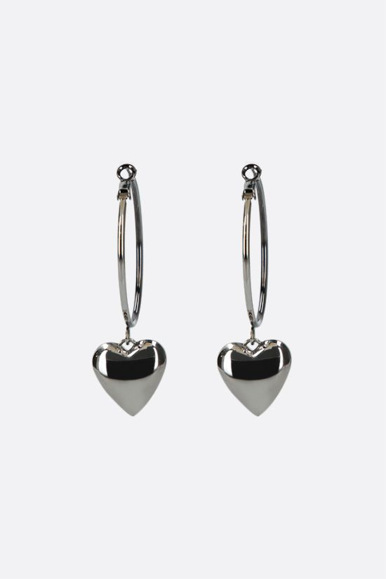 ALEXANDER McQUEEN: heart locket brass hoop earrings Color Silver_2