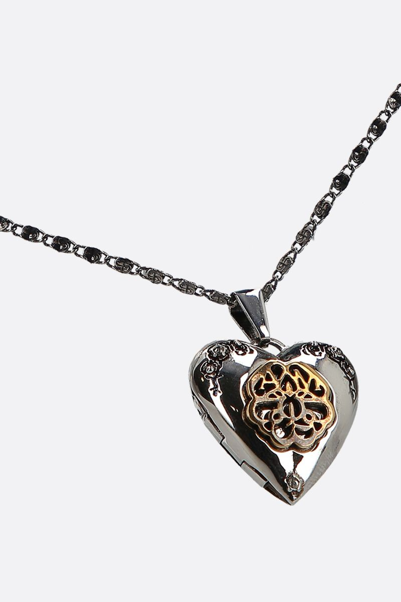 ALEXANDER McQUEEN: heart pendant-detailed brass necklace Color Silver_2