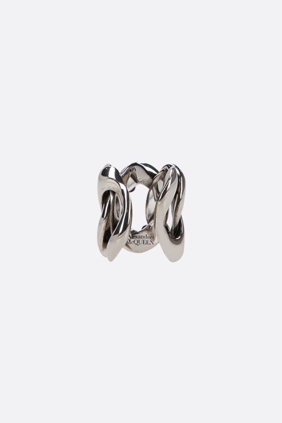 ALEXANDER McQUEEN: Skull-detailed brass chain ring Color Silver_2