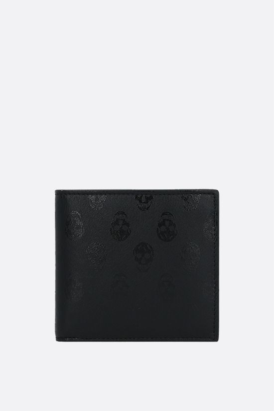 ALEXANDER McQUEEN: Biker Skull print smooth leather billfold wallet Color Black_1