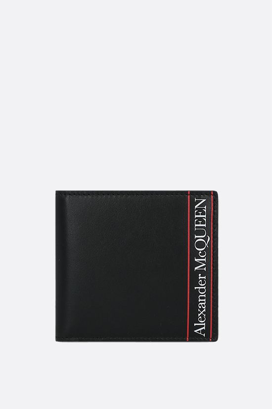 ALEXANDER McQUEEN: logo print smooth leather billfold wallet Color Black_1