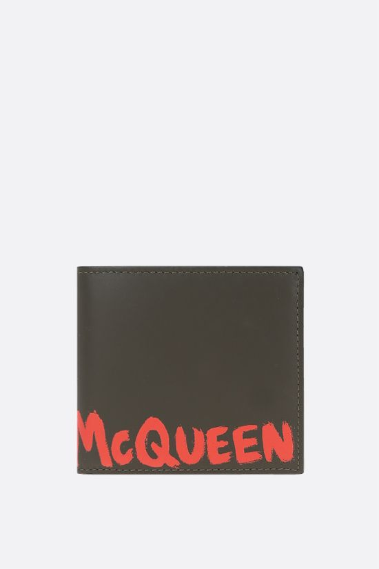 ALEXANDER McQUEEN: McQueen Graffiti smooth leather billfold wallet Color Brown_1