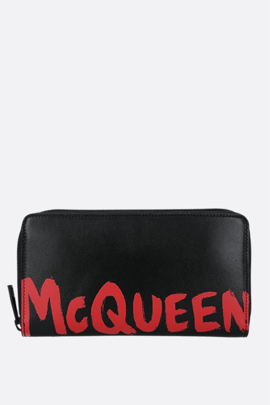 ALEXANDER McQUEEN: logo print smooth leather zip-around wallet Color Black_1
