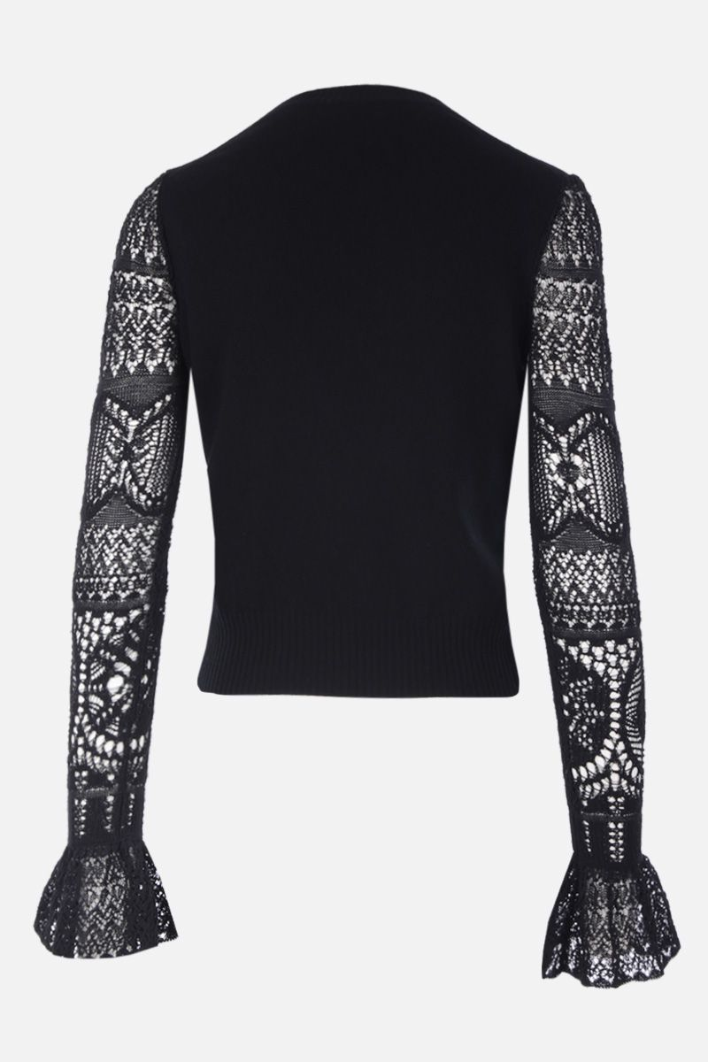 ALEXANDER McQUEEN: wool pulover with lace sleeves Color Black_2