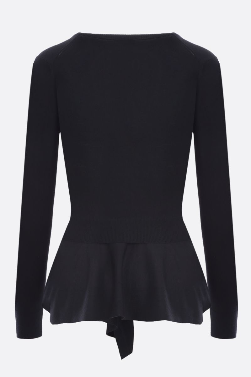 ALEXANDER McQUEEN: wool cashmere blend asymmetric pullover Color Black_2