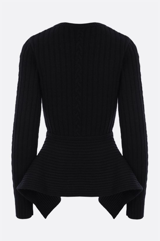 ALEXANDER McQUEEN: peplum hem-detailed wool cashmere blend pullover Color Black_2