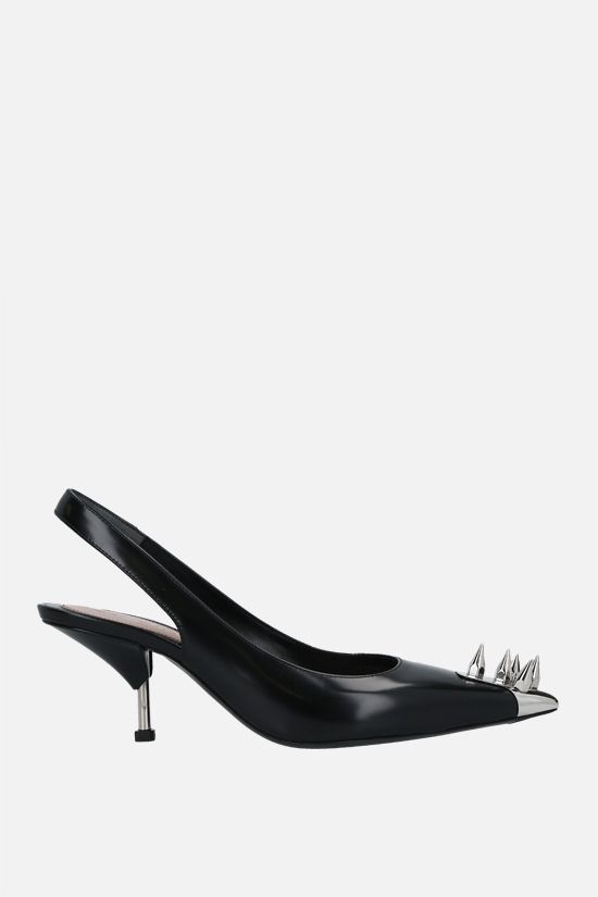 ALEXANDER McQUEEN: Punk shiny leather slingbacks Color Black_1