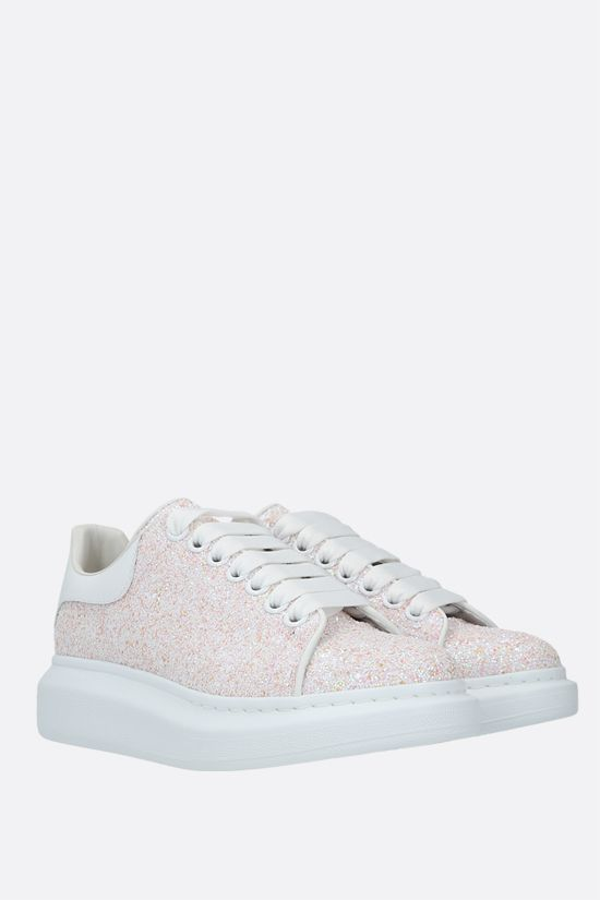 ALEXANDER McQUEEN: Oversize glitter fabric sneakers Color White_2