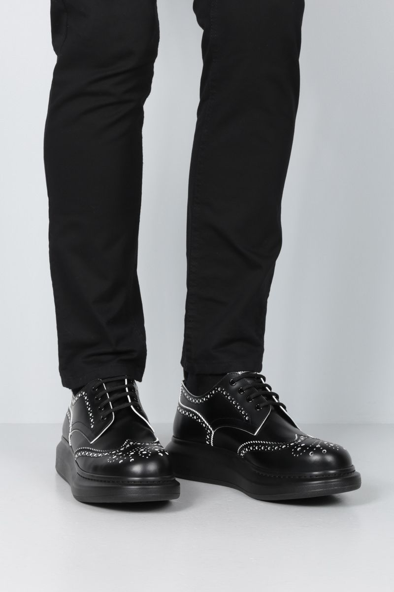 ALEXANDER McQUEEN: Hybrid smooth leather derby shoes Color Black_2