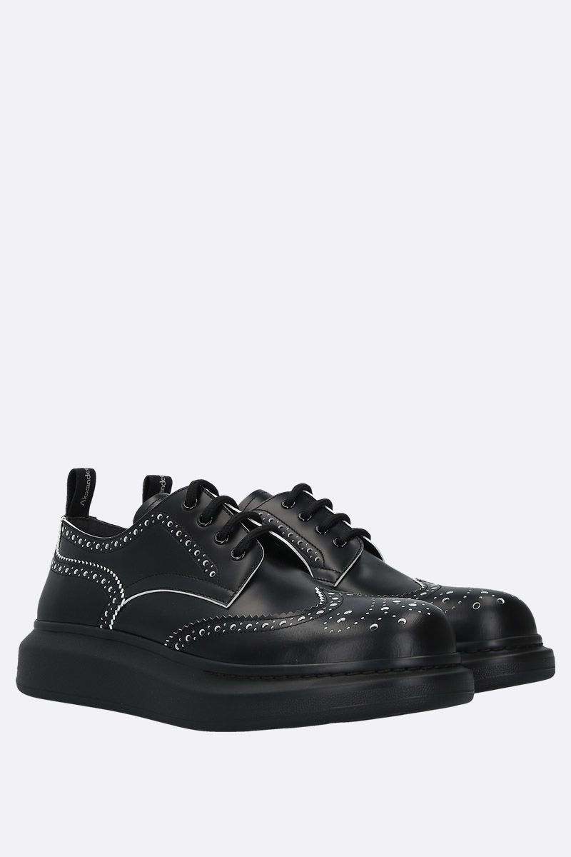ALEXANDER McQUEEN: Hybrid smooth leather derby shoes Color Black_3