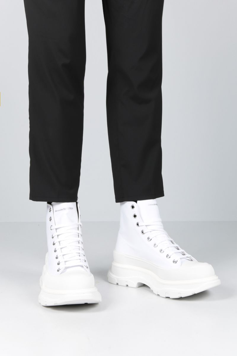 ALEXANDER McQUEEN: canvas high-top sneakers Color White_2
