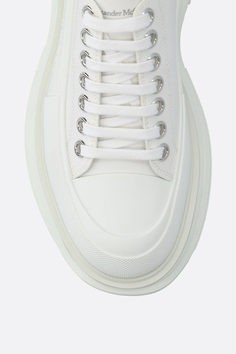 ALEXANDER McQUEEN: canvas low-top sneakers Color White_4