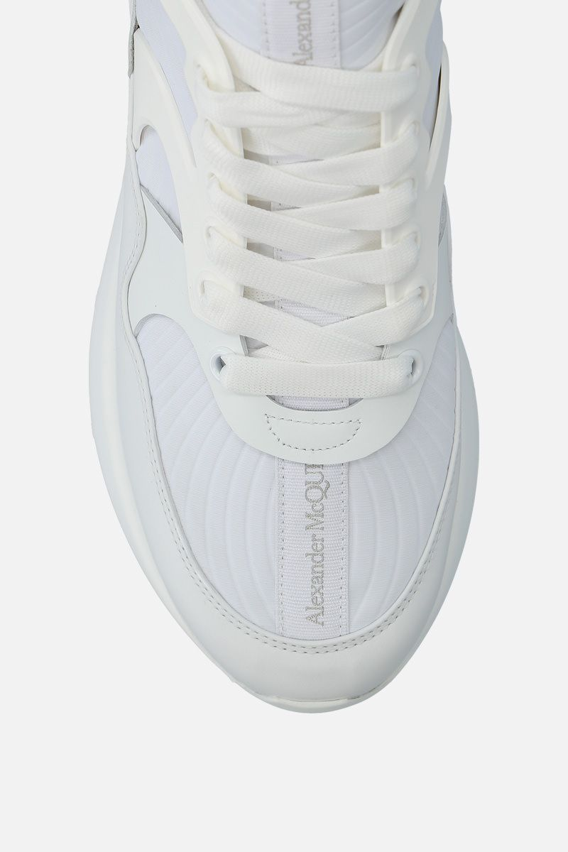 ALEXANDER McQUEEN: Runner Oversize sneakers in neoprene and leather Color White_4