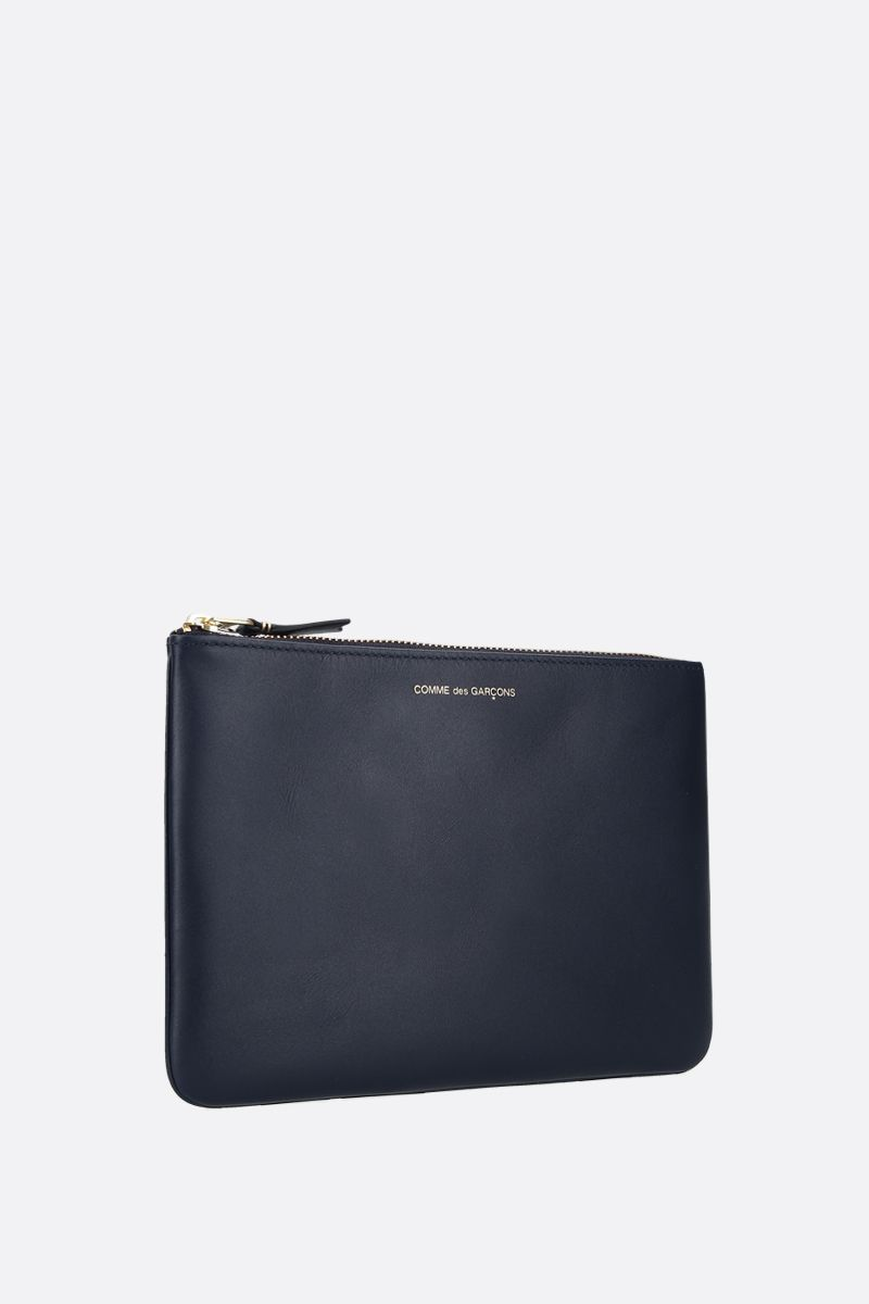 COMME des GARCONS WALLET: smooth leather large pouch Color Blue_2