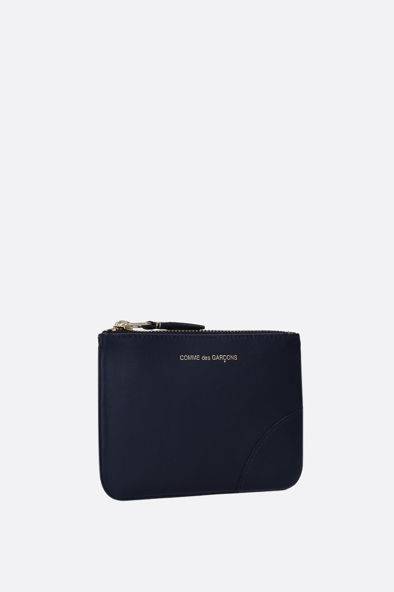 COMME des GARCONS WALLET: busta small in pelle liscia Colore Blu_2