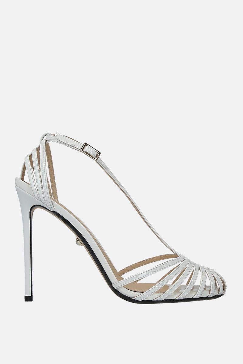 ALEVI' MILANO: Toni cage sandals in patent leather Color White_1