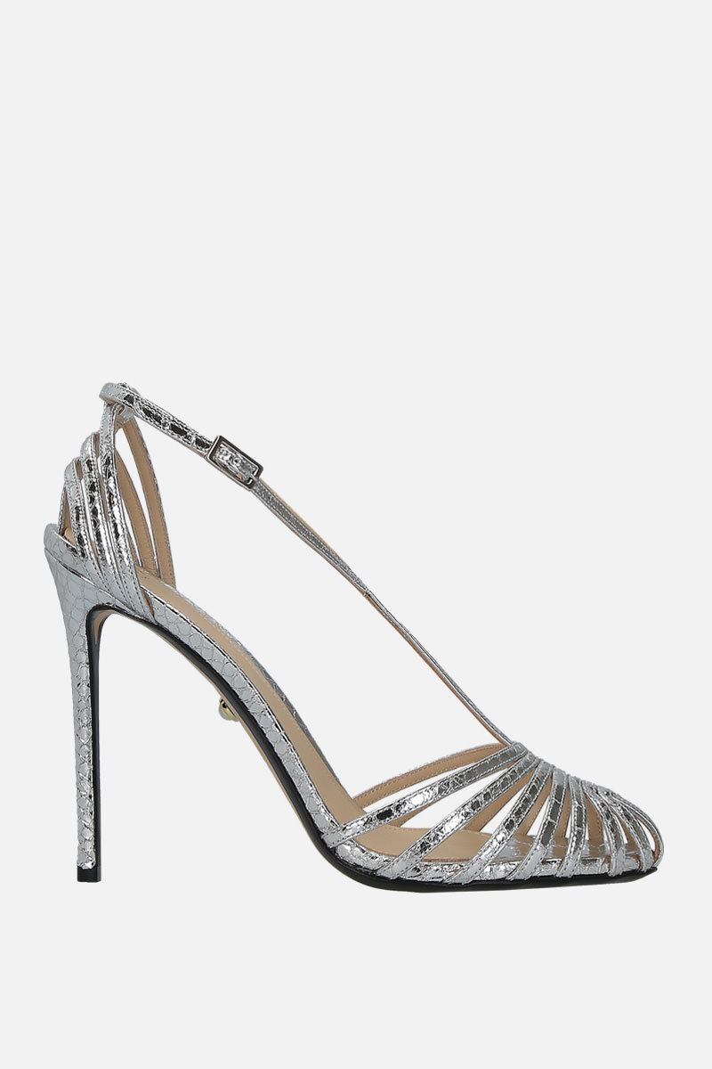 ALEVI' MILANO: Toni cage sandals in snake embossed leather Color Silver_1
