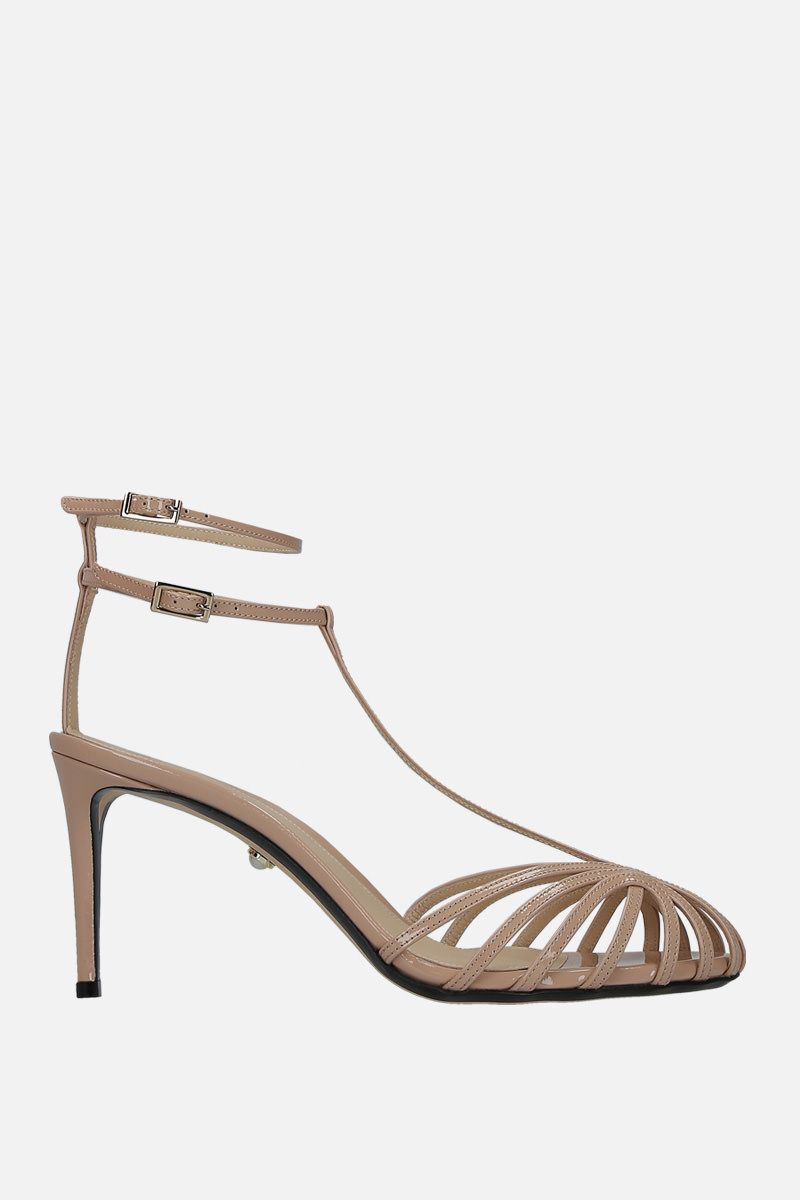 ALEVI' MILANO: Anna cage sandals in patent leather Color Neutral_1