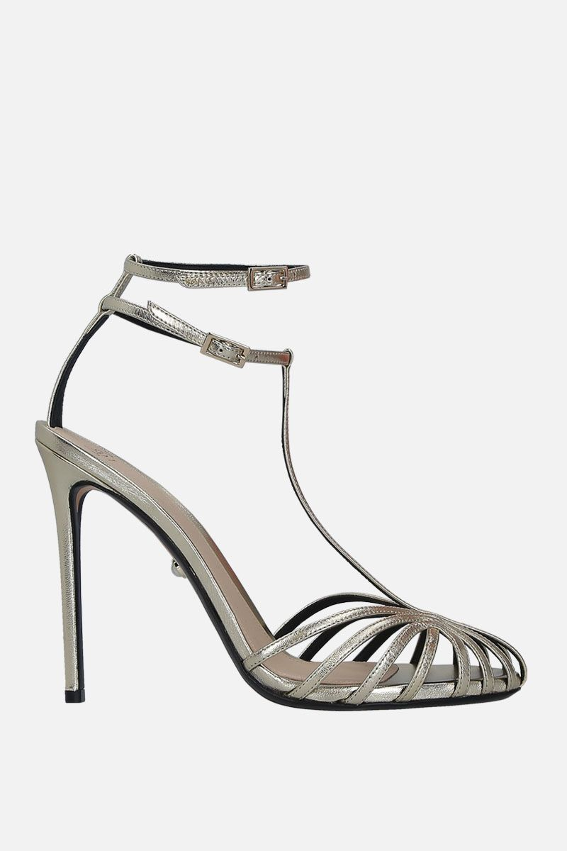 ALEVI' MILANO: Stella cage sandals in laminated leather Color Gold_1