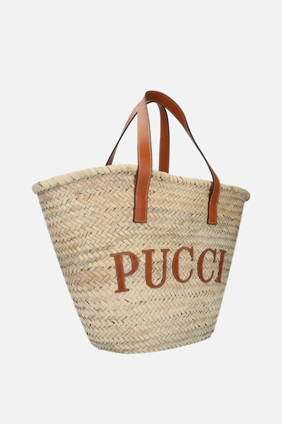 EMILIO PUCCI: logo-detailed straw basket bag Color Blue_2