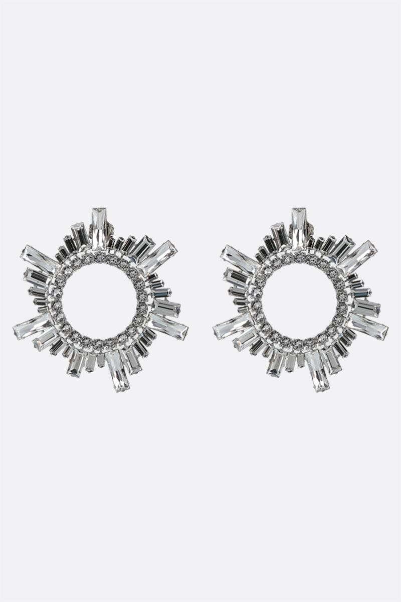 AMINA MUADDI: Begum metal and crystals earrings Color White_1
