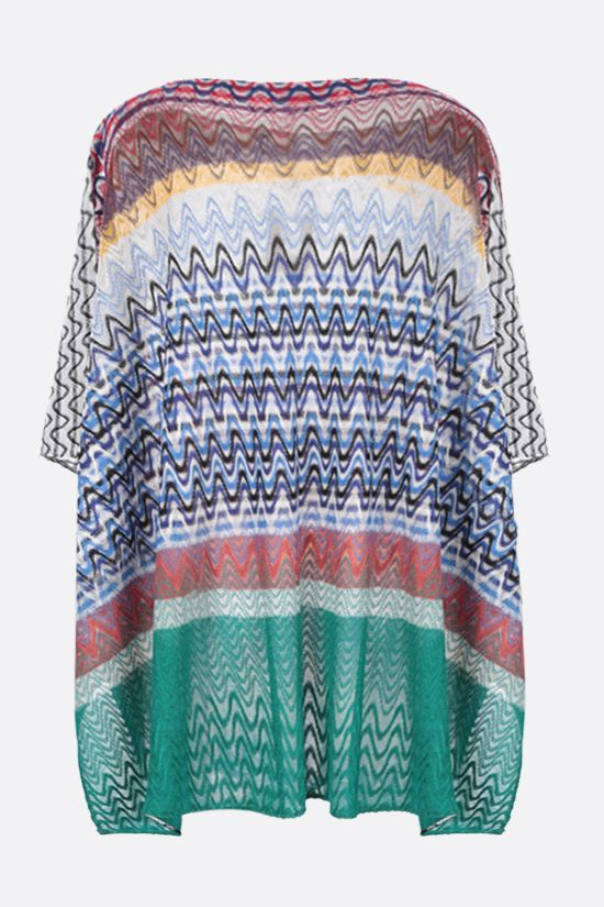 MISSONI: wave motif lightweight knit poncho Color Multicolor_2