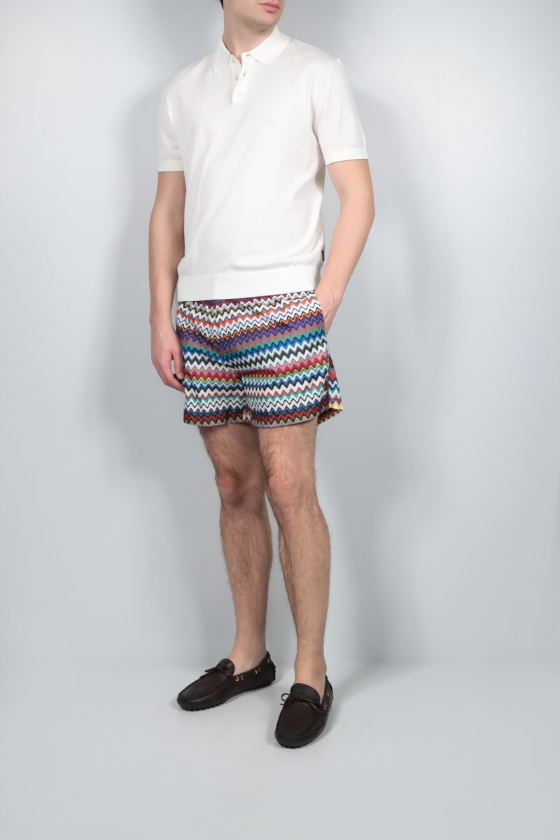 MISSONI: zig zag-motif nylon swim shorts Color Multicolor_2