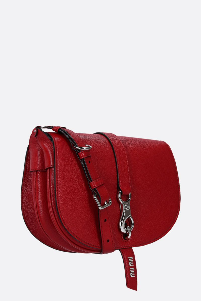 MIU MIU: Madras leather crossbody bag Color Red_2