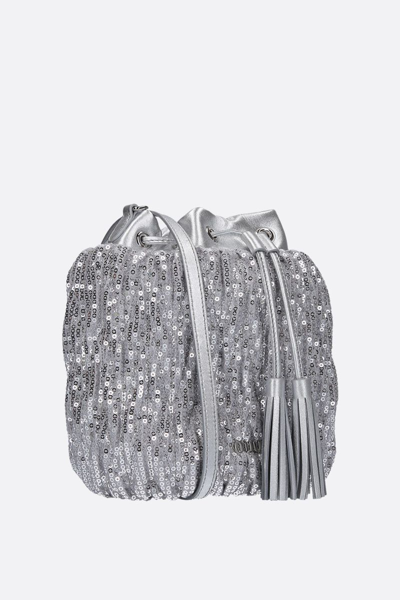 MIU MIU: sequinned bucket bag with leather details Color Silver_2