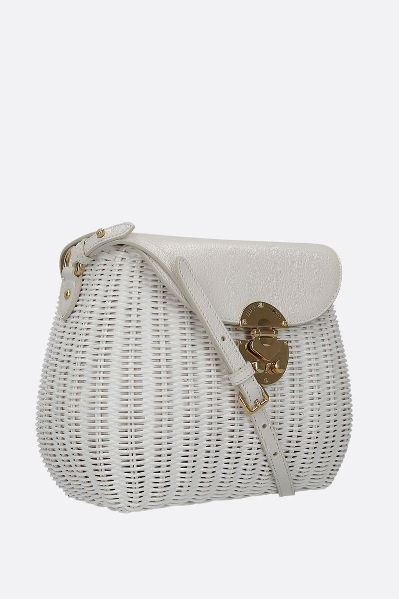 MIU MIU: wicker and grainy leather large crossbody bag Color White_2