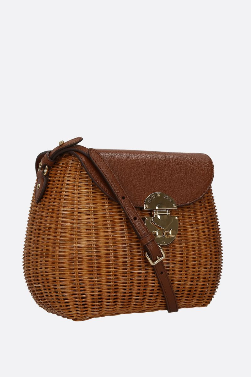 MIU MIU: wicker and grainy leather large crossbody bag Color Brown_2