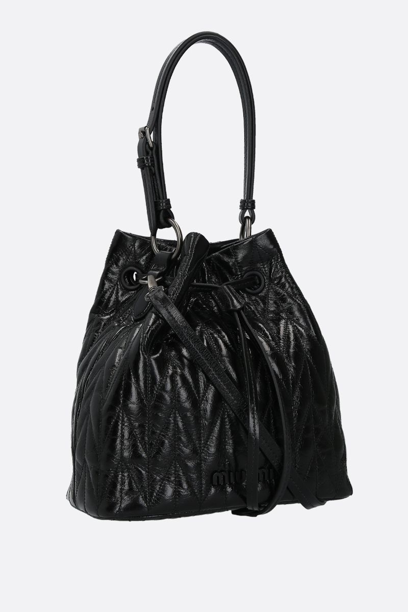 MIU MIU: quilted Shine leather bucket bag Color Black_2