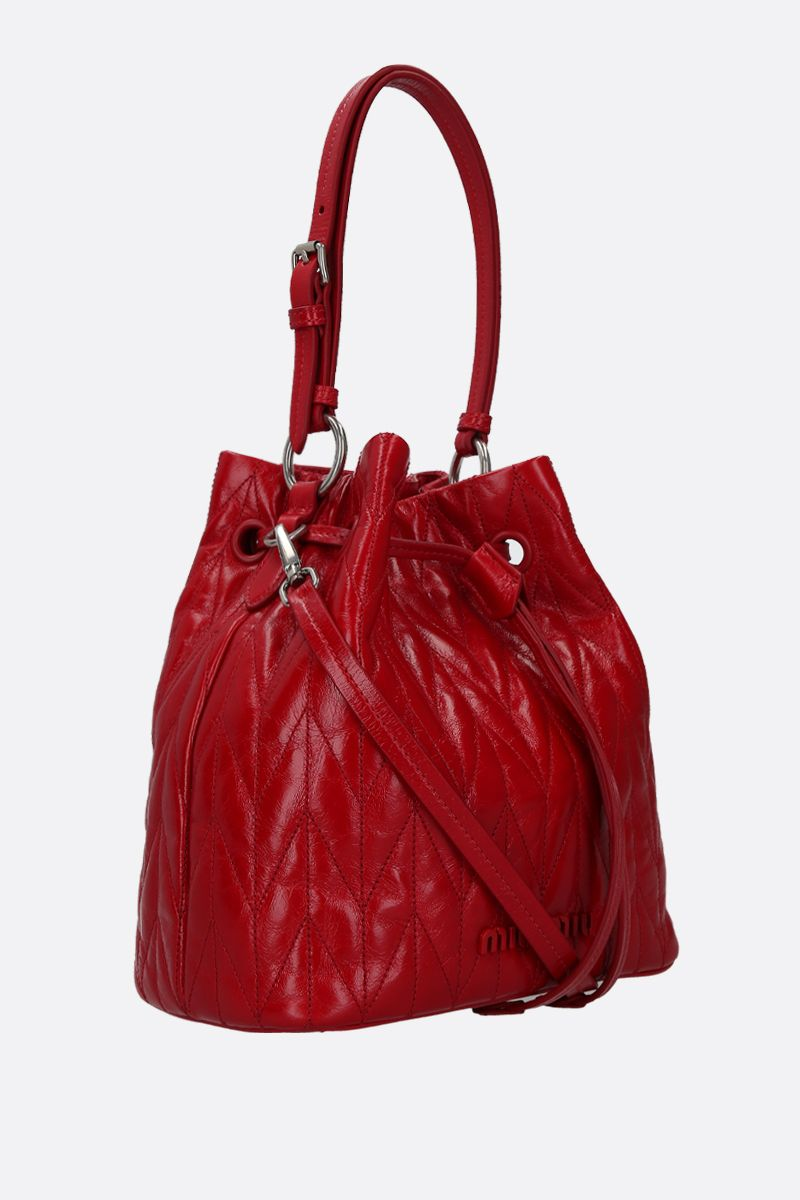 MIU MIU: quilted Shine leather bucket bag Color Red_2