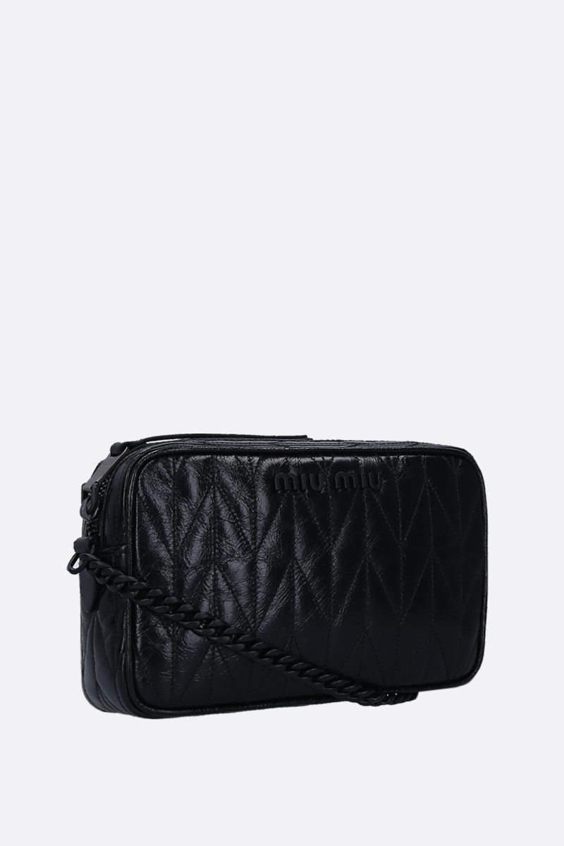 MIU MIU: quilted Shine leather crossbody bag Color Black_2