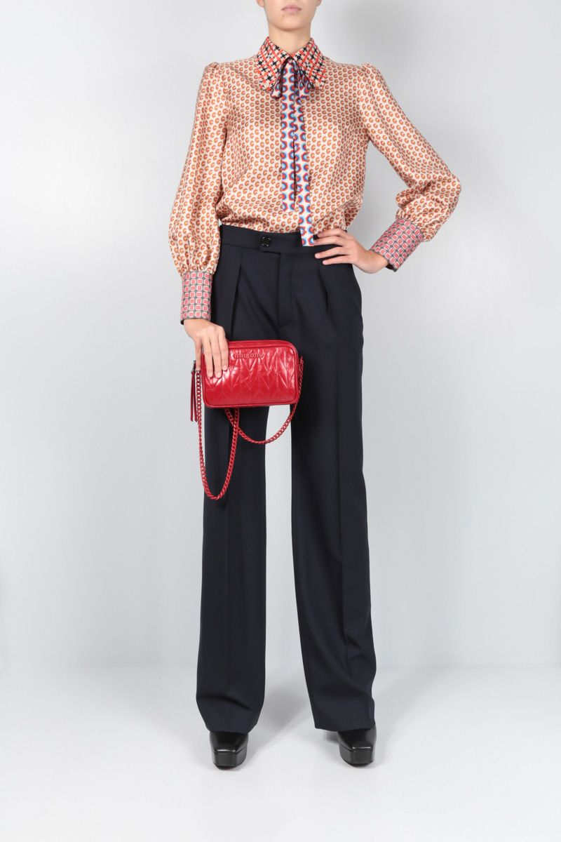 MIU MIU: quilted Shine leather crossbody bag Color Red_2