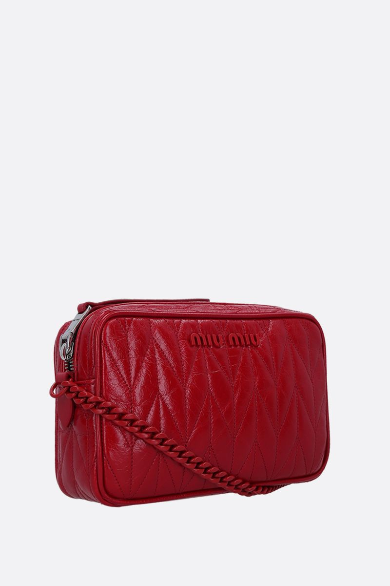 MIU MIU: quilted Shine leather crossbody bag Color Red_3
