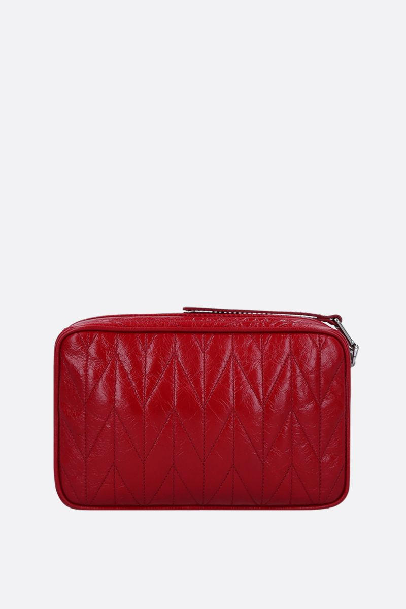 MIU MIU: quilted Shine leather crossbody bag Color Red_4